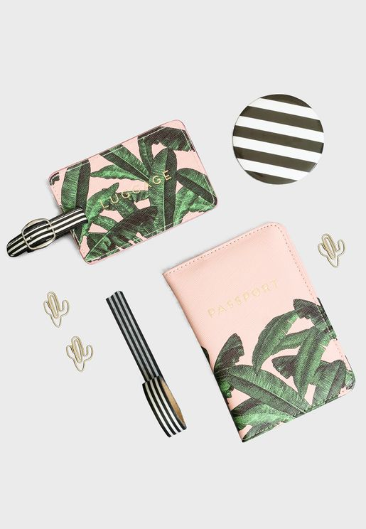 Floral Luggage Tag And Passport Holder