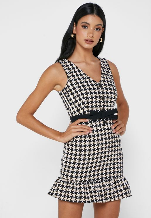 Ruffle Hem Dogtooth Print Dress