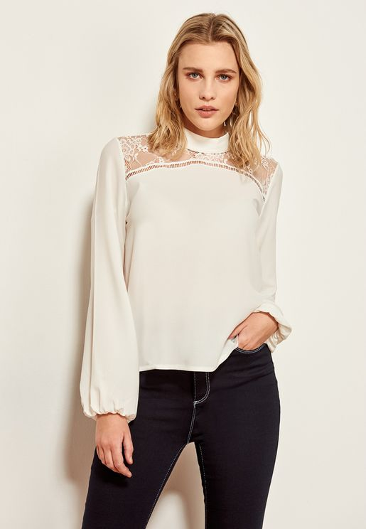 High Neck Lace Mesh Top