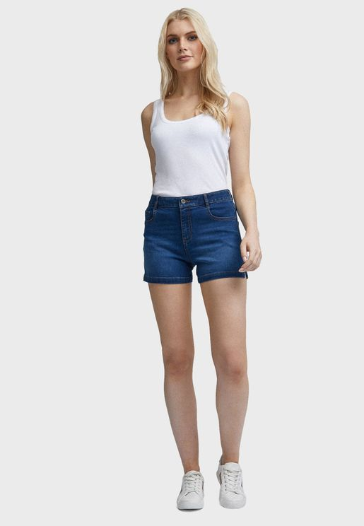 Notch Side Denim Shorts