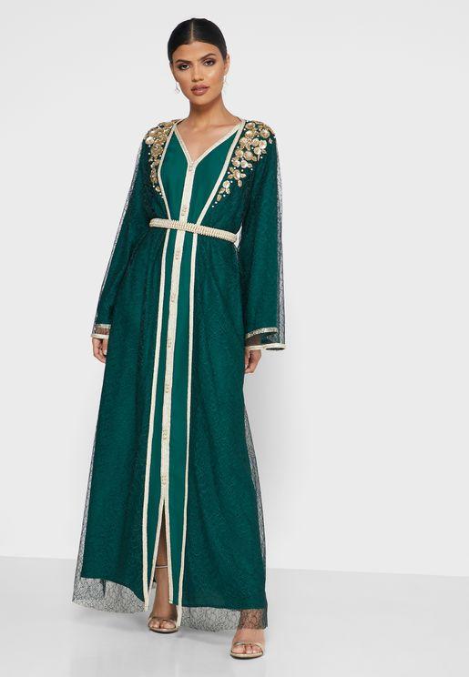 طقم فستان + جاكيت بنمط قفطان