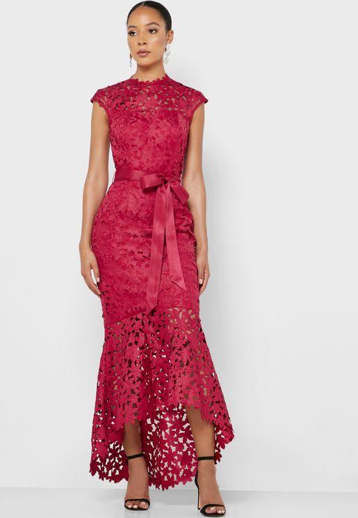 High Neck Tie Waist Broderie  Dress