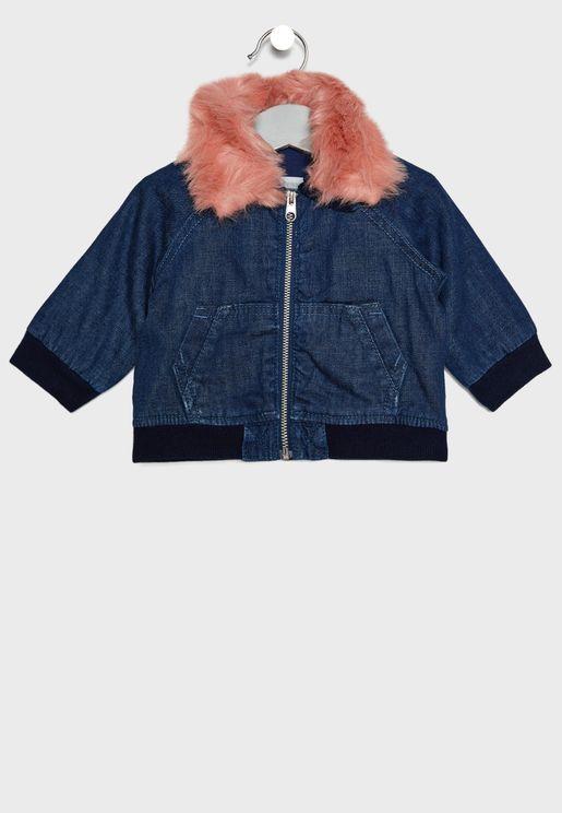 Infant Fur Collar Denim Jacket