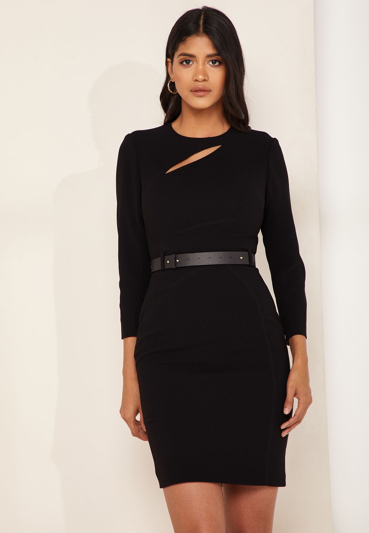 821bf1c3c4 Shop Karen Millen black Belted Cut Out Pencil Dress DE040 for Women ...