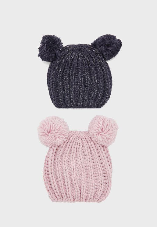 Little 2 Pack Knitted Pom Pom Beanie