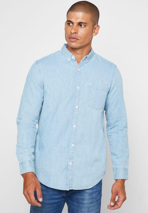 Light Wash Regular Fit Denim Shirt