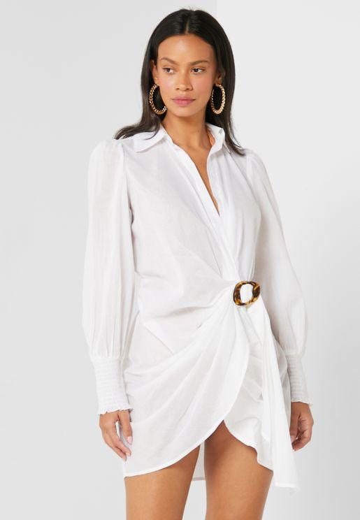 Buckle Shirt Mini Dress