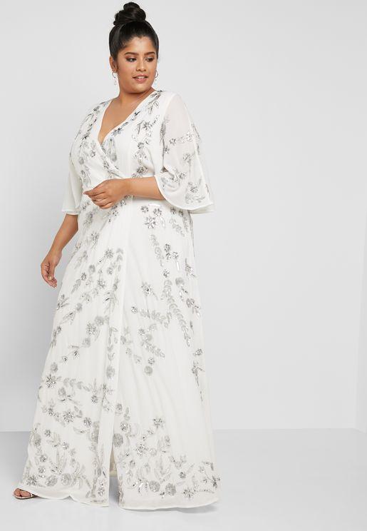 Embellished Wrap Maxi Dress