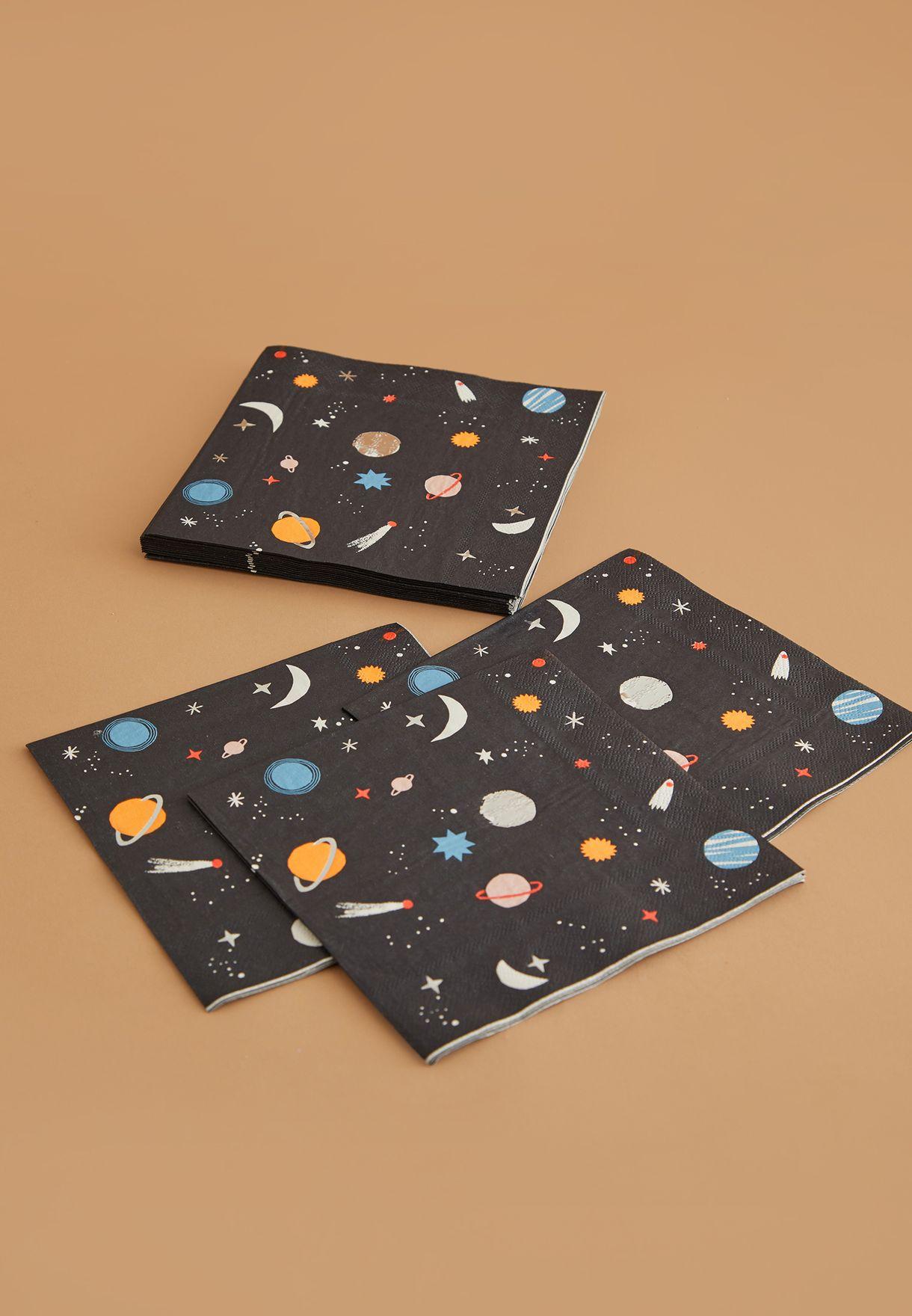مجموعة تحتوي على 16 منديل ورقي بطبعات فضاء
