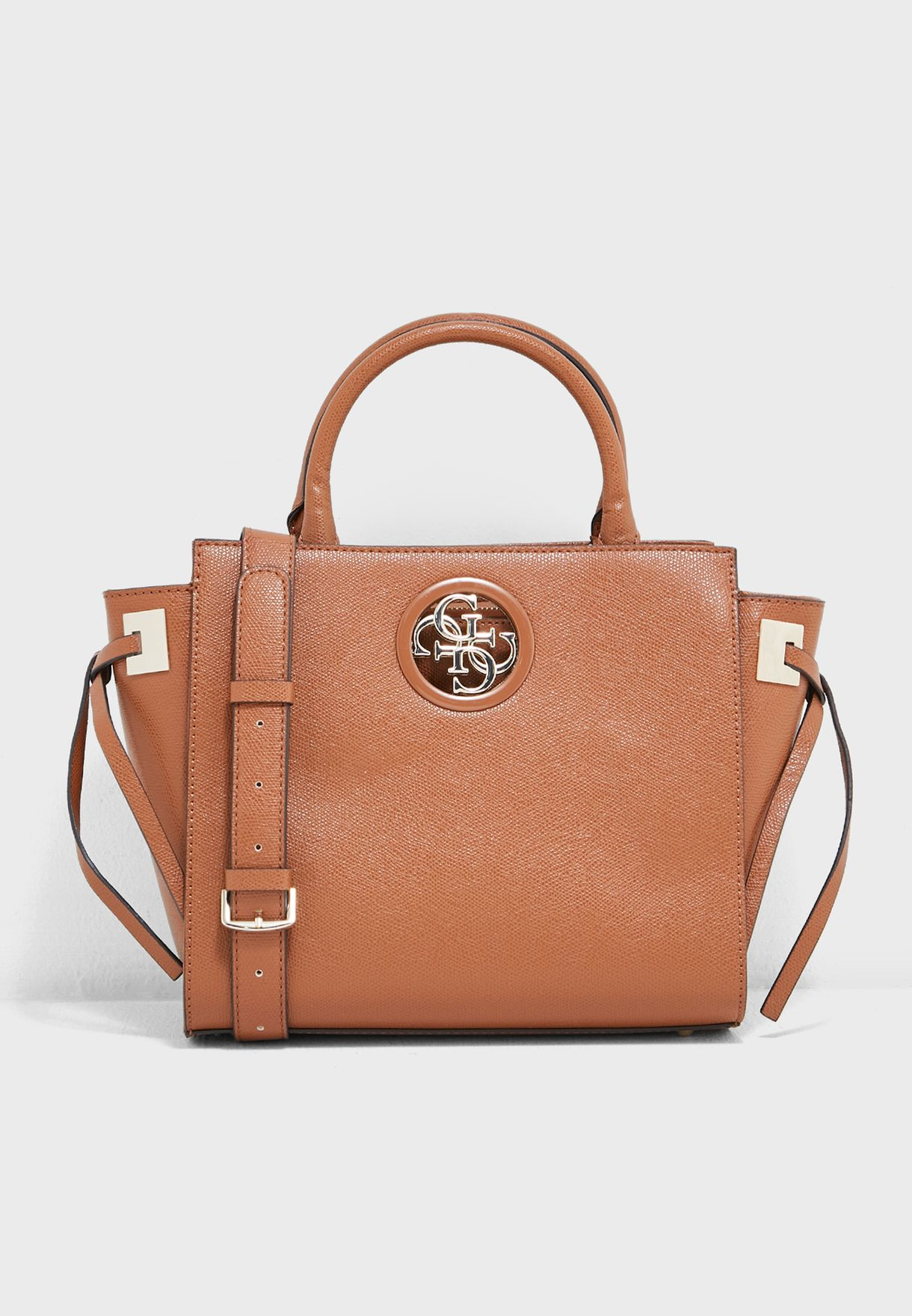 f8f2dfabe7c1 Shop Guess Brown Open Road Society Satchel VG718606COG for Women in ...