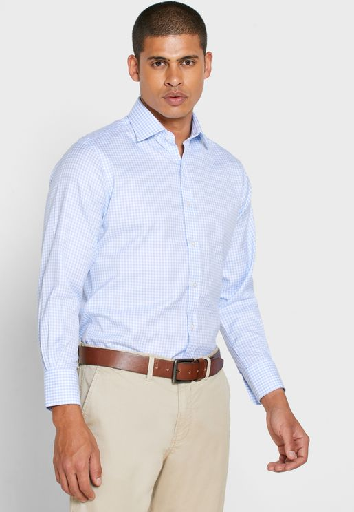 Striped Button Cuff Slim Fit Shirt