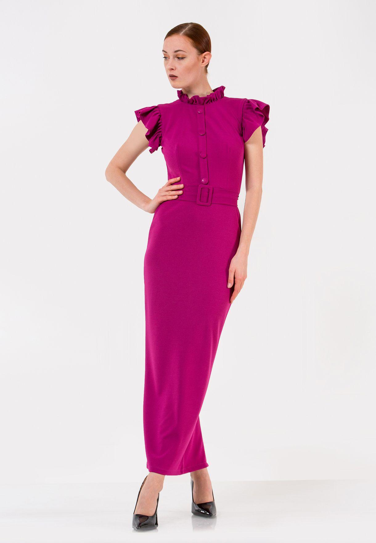 Ruffle Trim Belted Dress