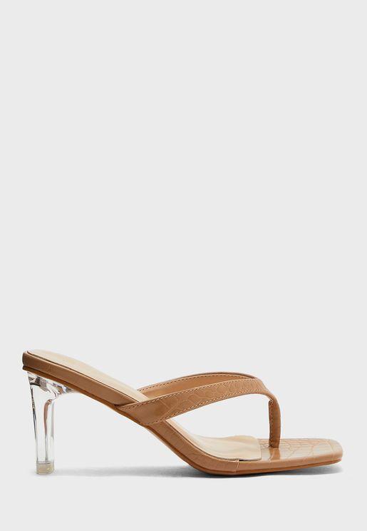 Square Toe Post Clear Heel Mule