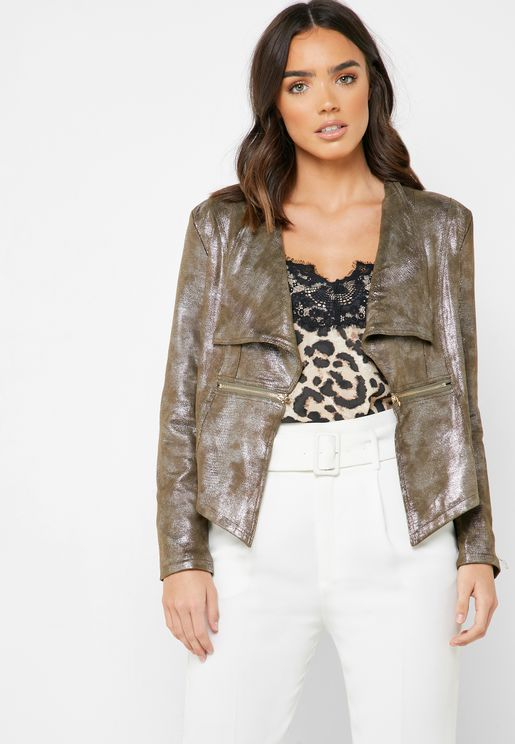 Metallic Suedette Self Tie Jacket
