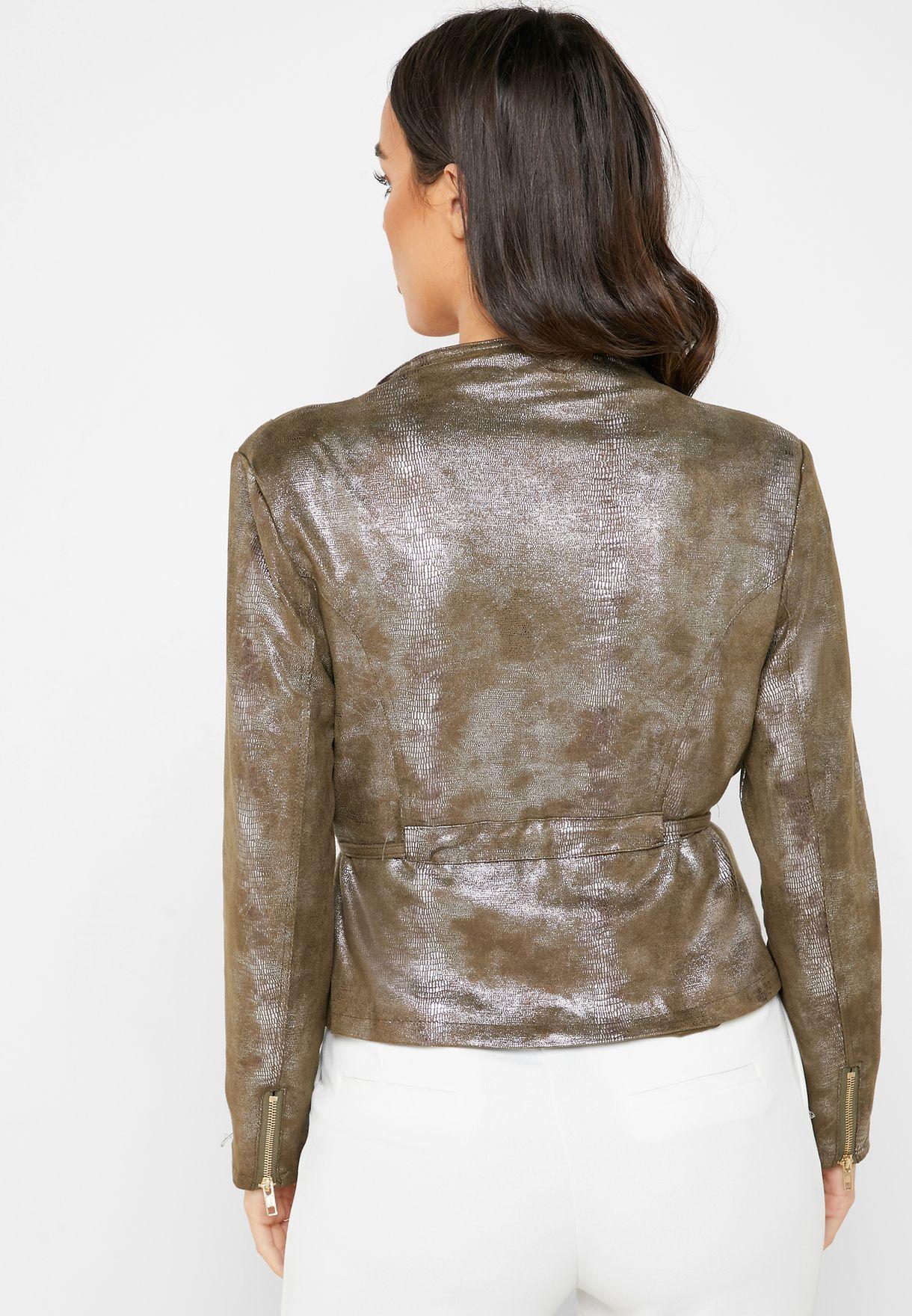 Metallic Suedette Self Tie Jacket
