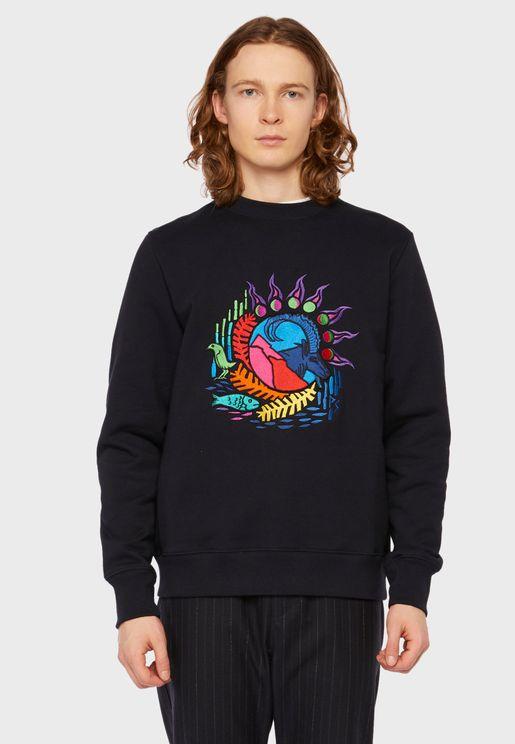 Mountain Scene Embroidered Sweatshirt