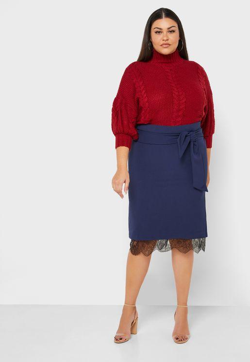 Lace Hem Belted Skirt