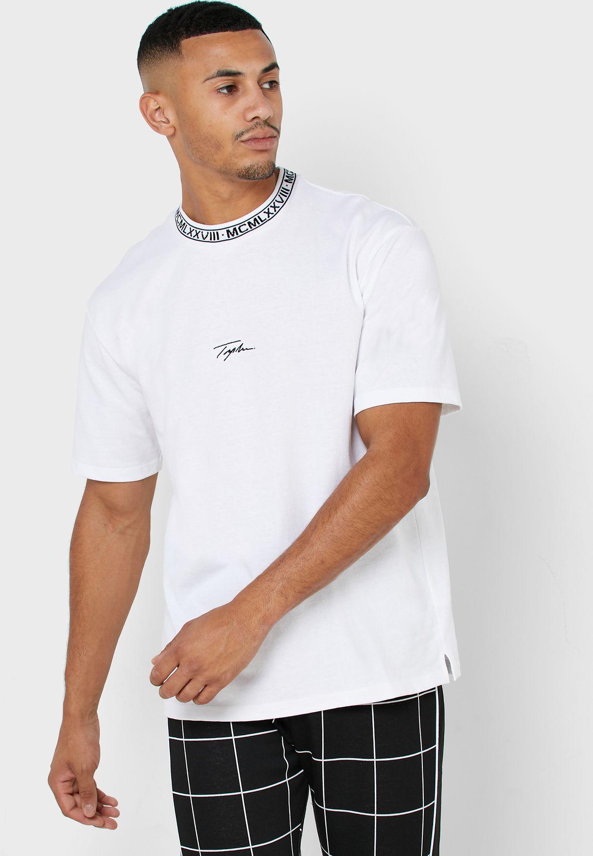 Jacquard Ribbed Crew Neck T-Shirt