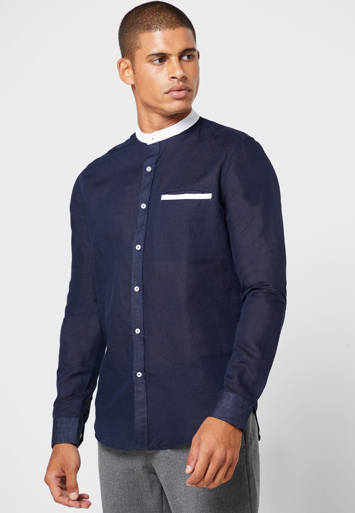 Contrast Mandarin Collar Shirt