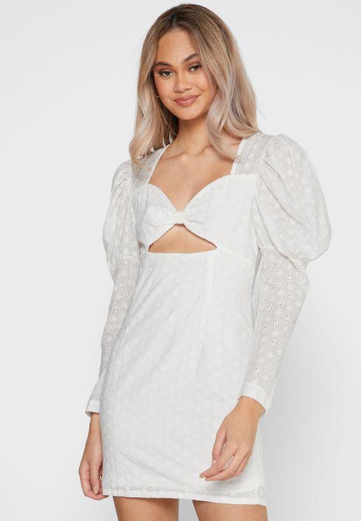 Puffed Sleeve Cut Out Mini Dress