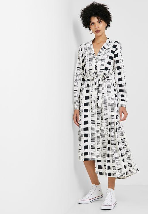 986dc170586 Tie Waist Asymmetric Checked Dress