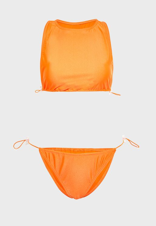 Neon High Neck Bikini Set