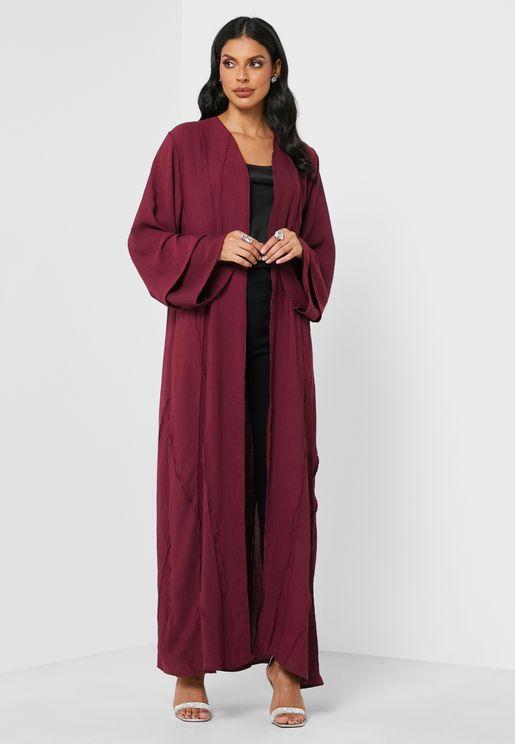 V-Neck Pleated Abaya