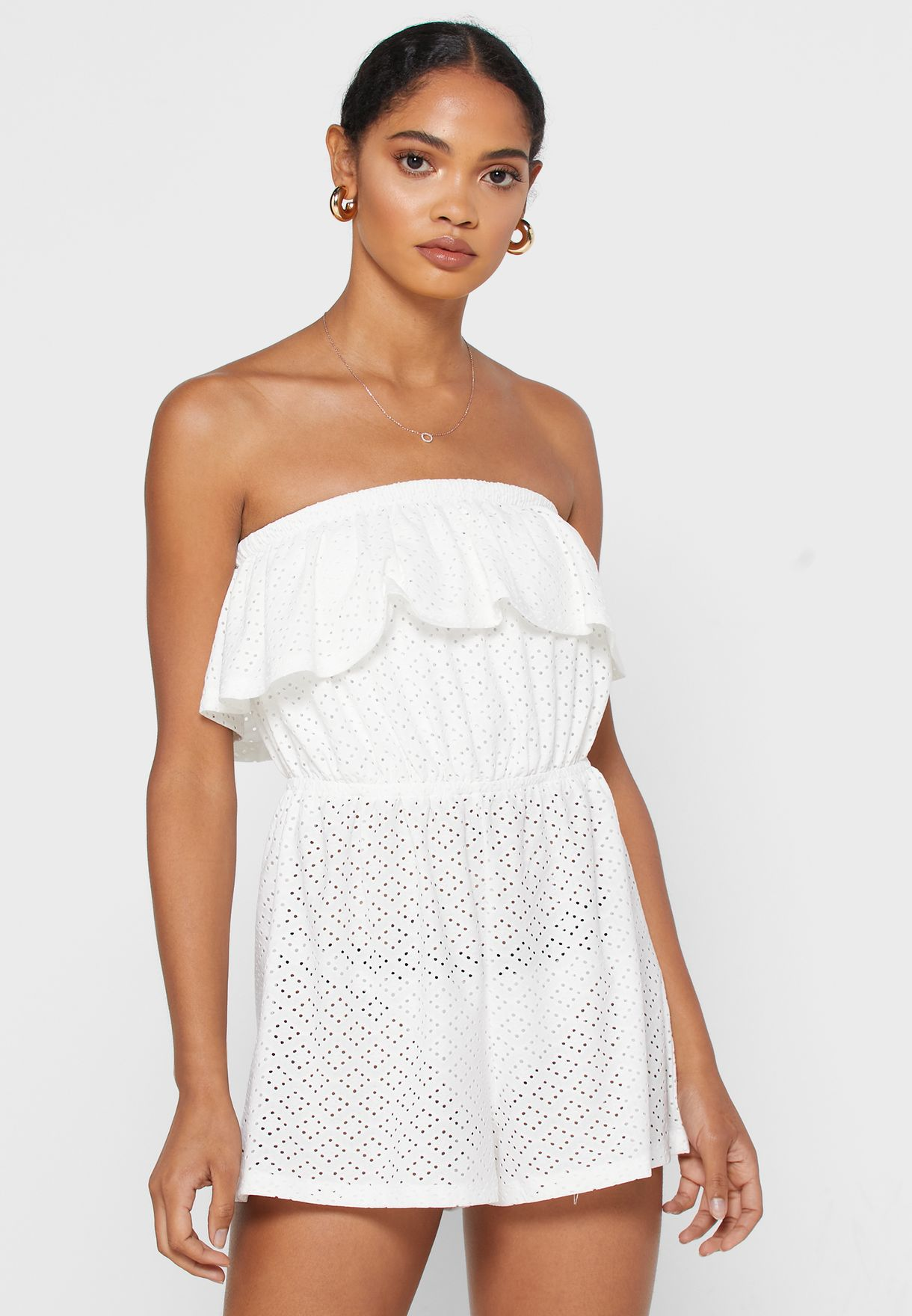Overlay Bardot Beach Playsuit