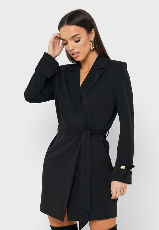 Tie Waist Wrap Blazer Dress