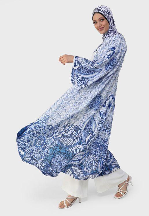 V-Neck Printed Abaya