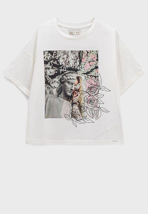 Kids Flowers Graphic T-Shirt