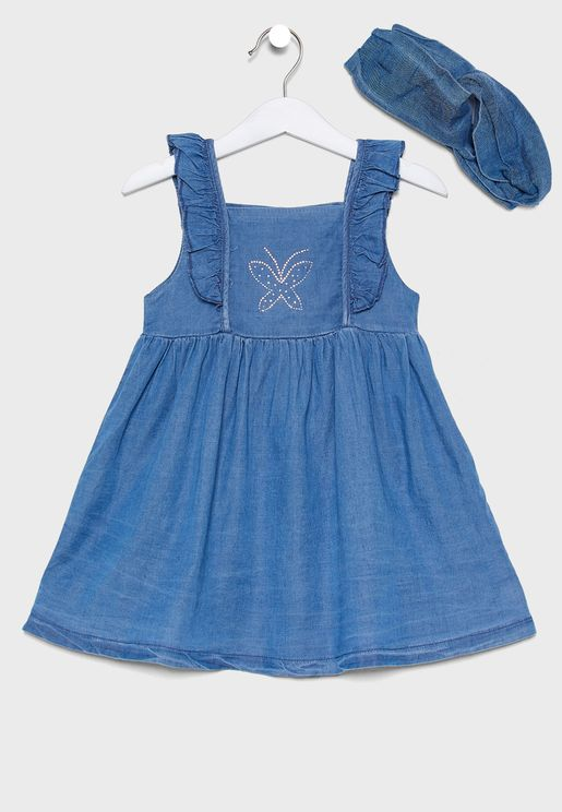 Little Frill Sleeve Dress + Headband Set