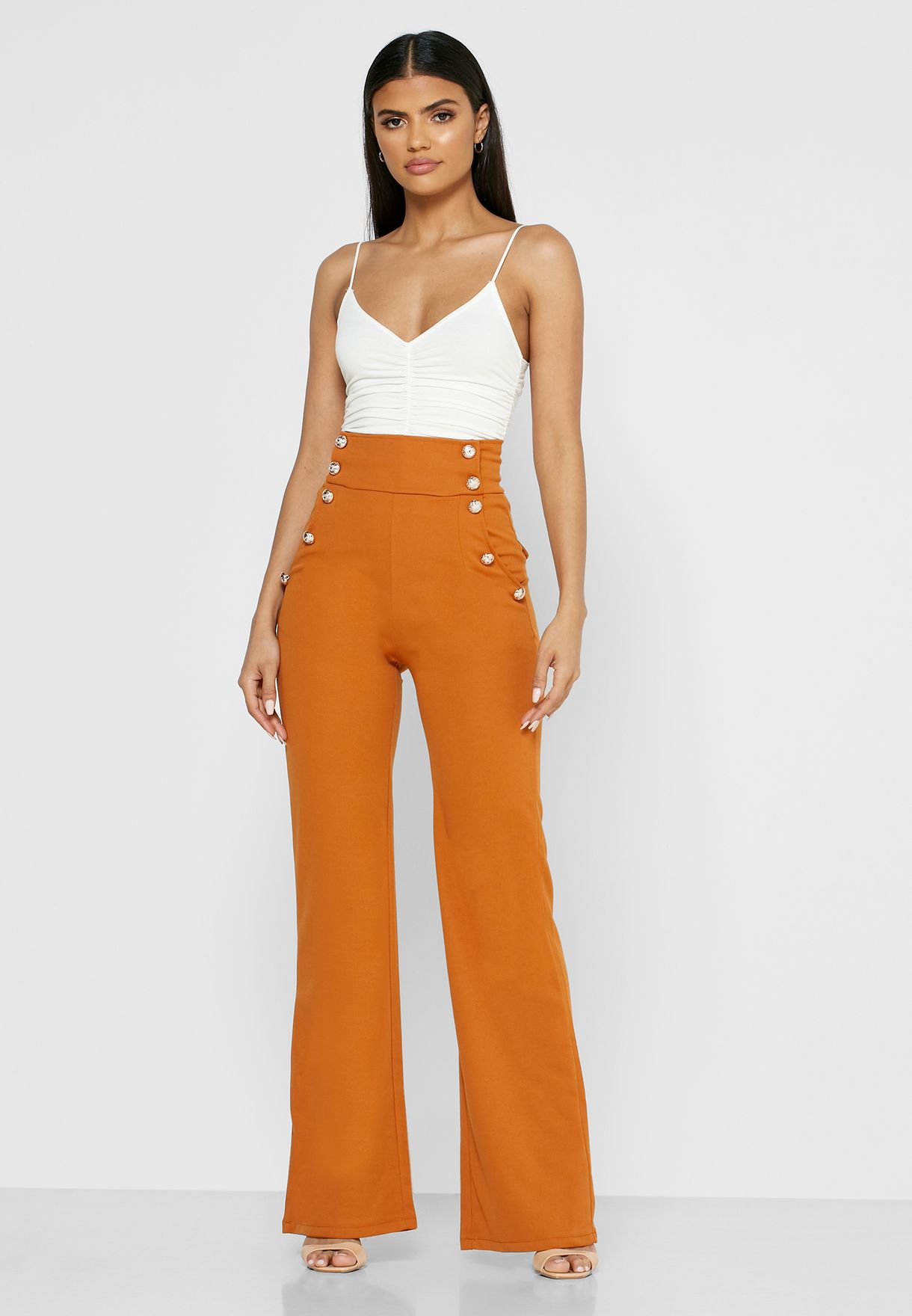 Double Breasted High Waisted Pants