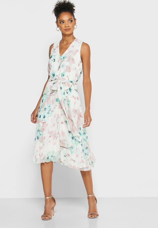 Tie Pleated Printed Dress