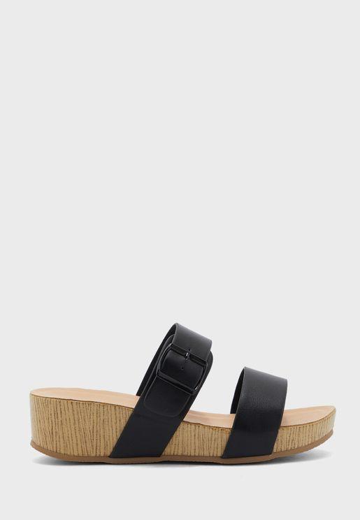 Double Strap Flat Sandals