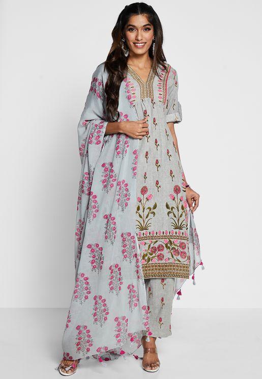 Floral Print Cotton Kurti With Panta & Dupatta