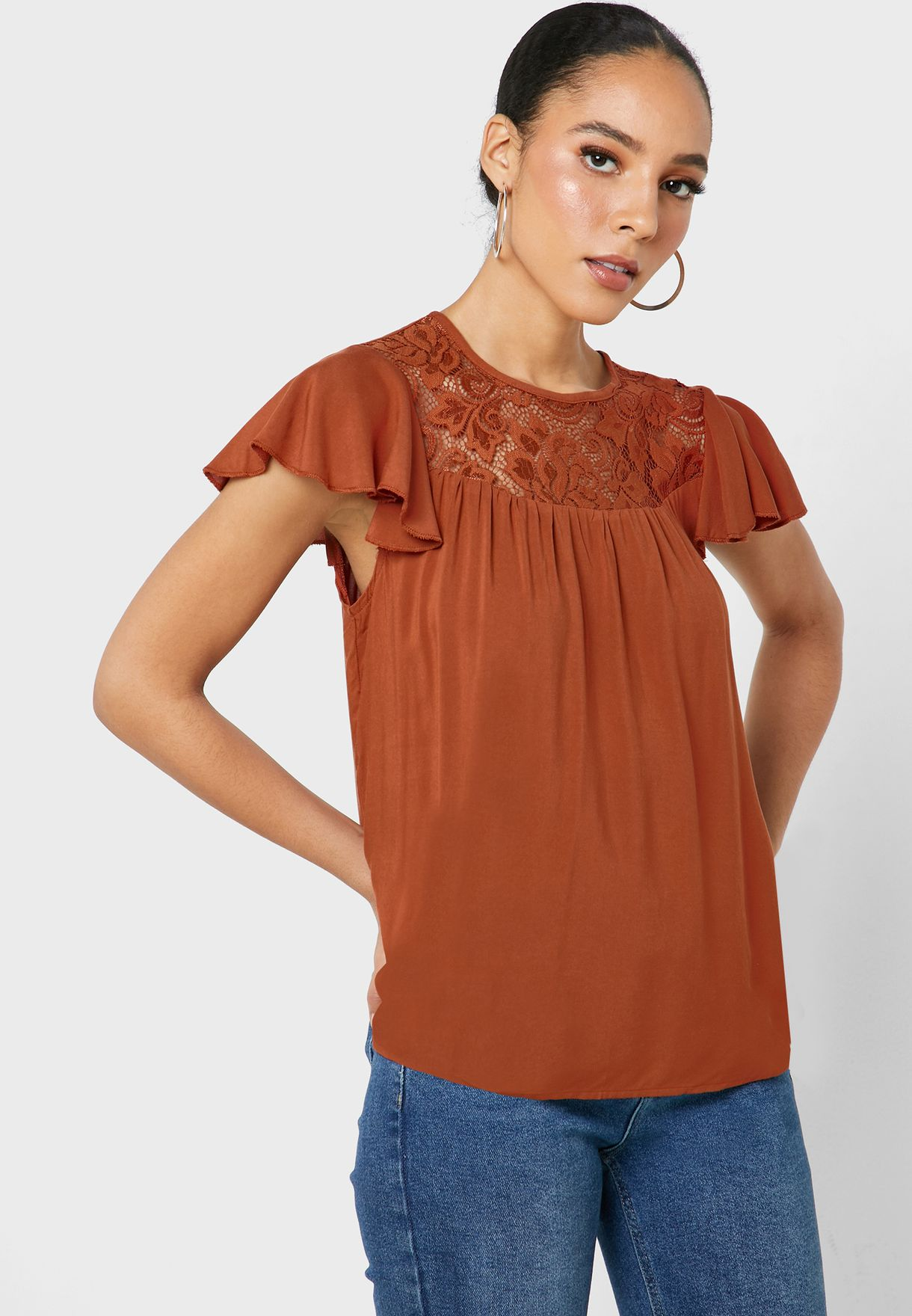 Lace Detail Ruffle Sleeve Top