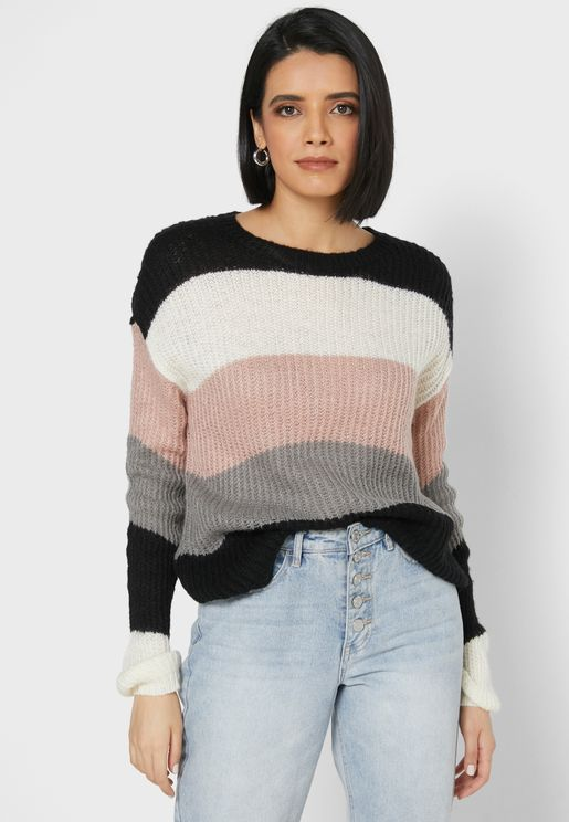 Boat Neck Striped Knitted Sweater