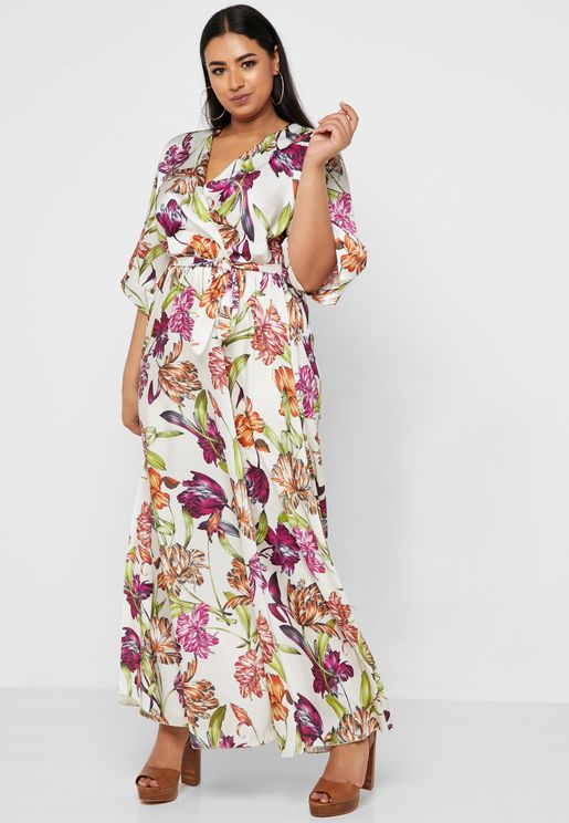 06b174faf93 Floral Print Wrap Front Maxi Dress
