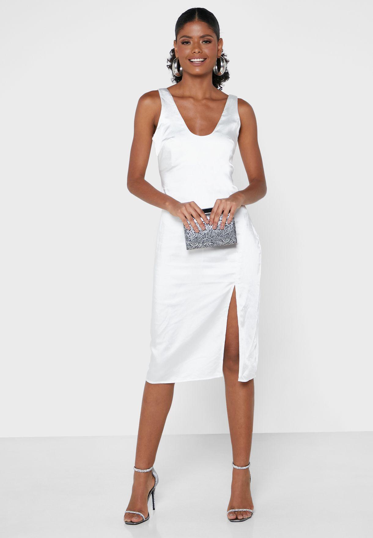 Satin Slit Front Midi Dress