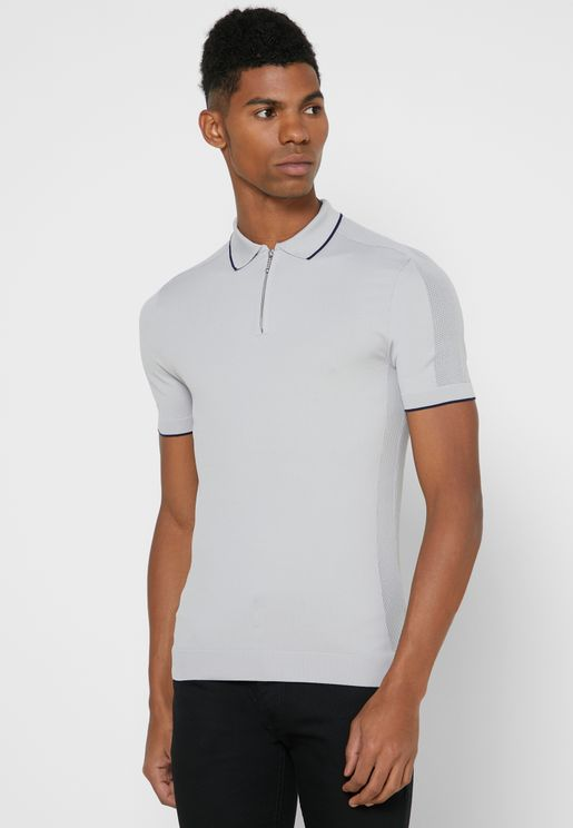 Mesh Tipped Knitted Polo