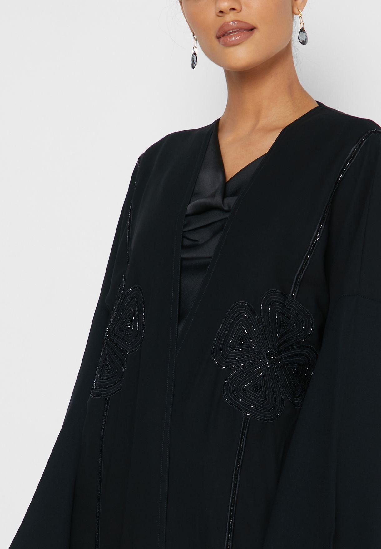 Flower Sequin Detail Abaya