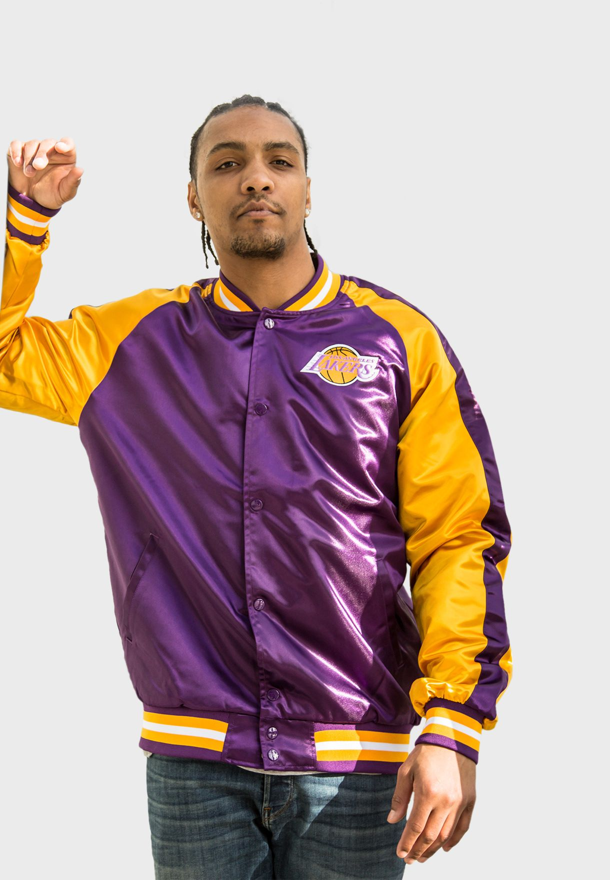 Los Angeles Lakers Colour Block Satin Track Jacket