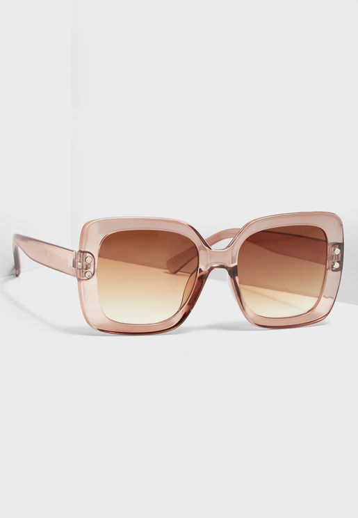 Pink Frame Oversized Sunglasses