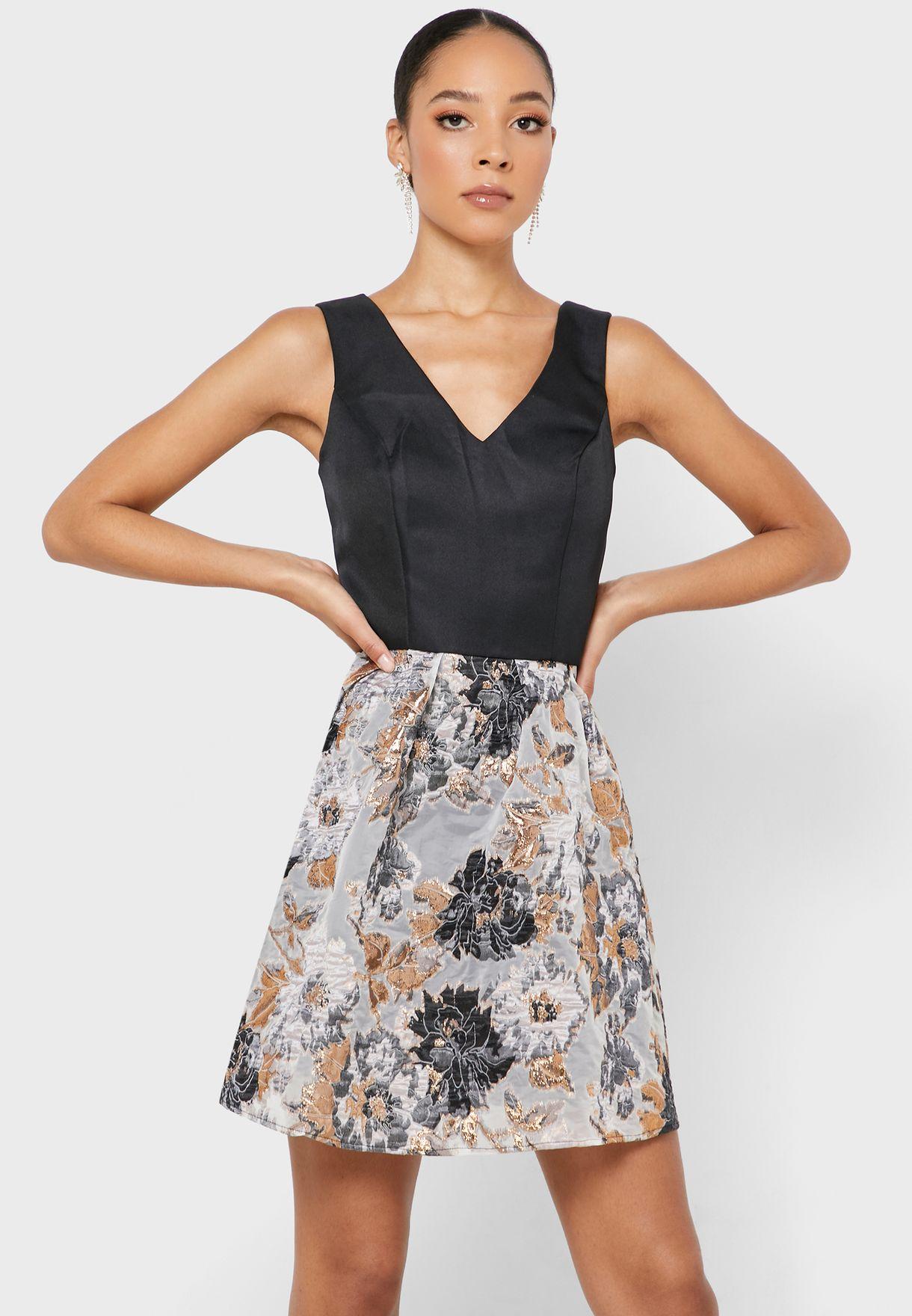 V-Neck Printed Prom Dress