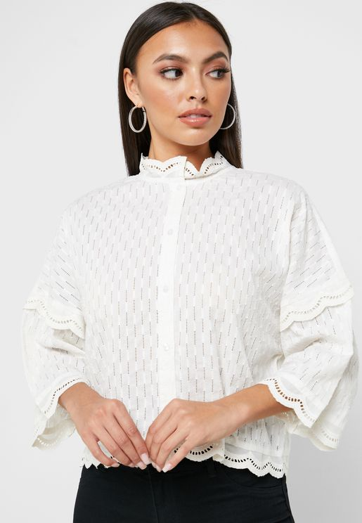 High Neck Scallop Cropped Shirt