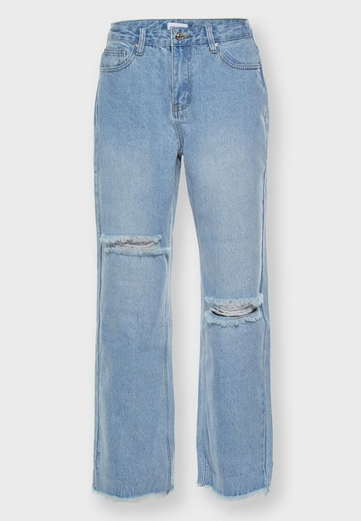 Raw Hem Ripped Wide Leg Jeans