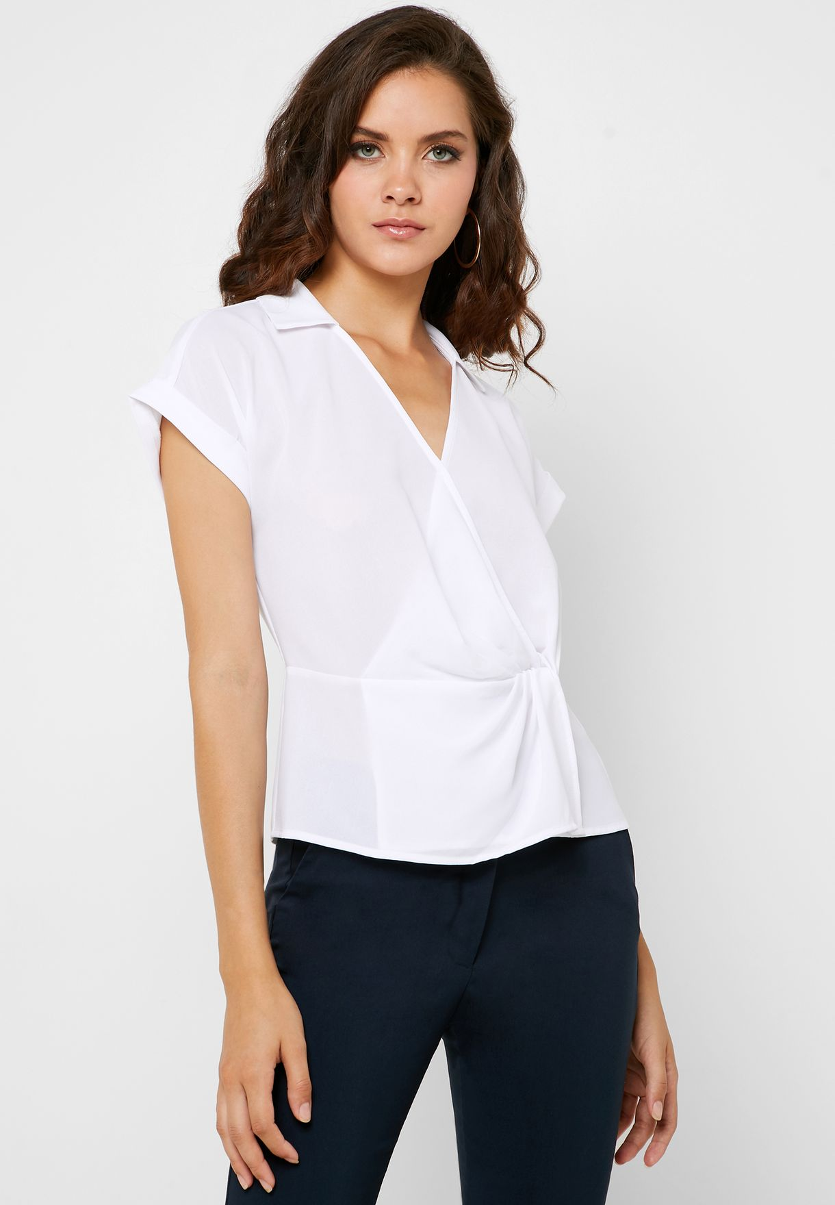 Front Twisted V-Neck Top