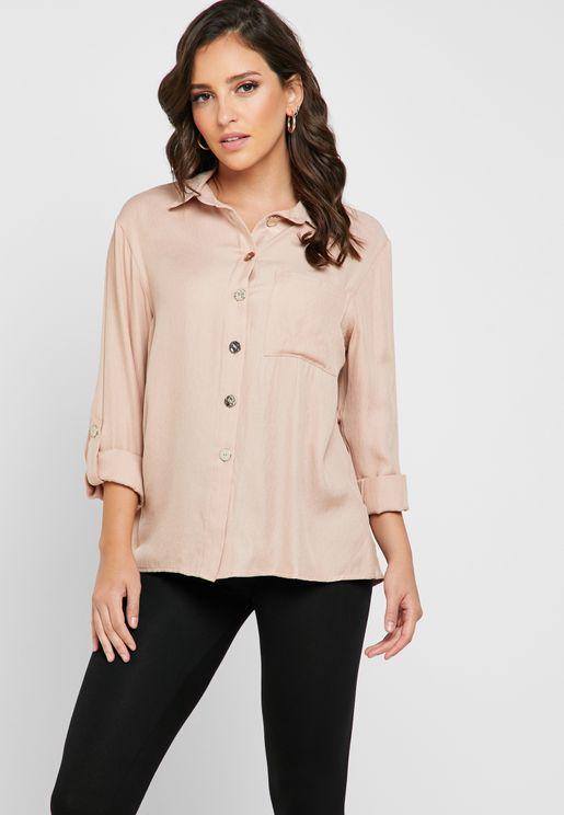 Roll Sleeve High Low Shirt