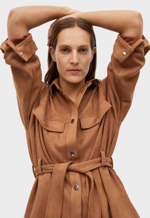 Double Pockets Belted Jacket